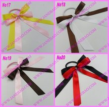 free shipping 140pcs mix color  Pony O Hair Bow Ponytail Streamers ponytail holder bows