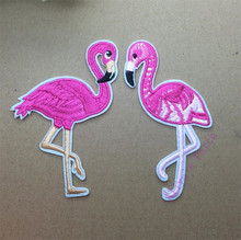 1 pcs Flamingo embroidered iron on patches cloth accessories popular clothing bag hat Patches Appliques