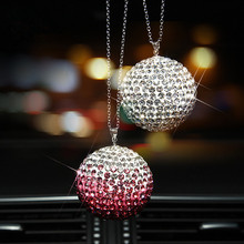 High Grade 35mm Crystal Ball Rear View Mirror Pendant Crystal Charm Ornament Car Accessories Christama gift(China)