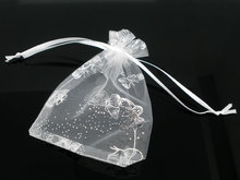 100PCs 7x9cm White Butterfly Organza Wedding Gift Jewelry Bags&Pouches  Fine Gifts Storage Package Organizer