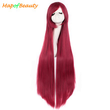 "MapofBeauty 40"" long Straight Natural Dark Red Cosplay Wigs Costume Cartoon Role Hairpiece Heat Resistant Synthetic women's hair(China)"