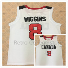Men #8 Andrew Wiggins Canada white Red Basketball jersey Retro throwback stitched embroidery Customize any name number