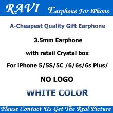 RAVI Cheapest In-Ear Earbuds Headphones With Mic Volume Control for Apple Earphone iPhone 4 5 6 5s/6s Android Phones 100 pcs lot