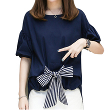 Mara Alee Womens shirts blue tops puff sleeve blouse korean fashion clothing plus size bow tie blouse fall 2017 fashion WD008