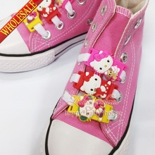 New Arrival 6Pcs/set Lovely Hello Kitty Cartoon Shoelace Charms Shoe Accssories Decoration Silicone Shoelaces,best for Kids Gift