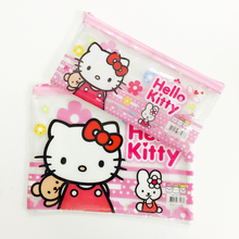 M55 1X Hello Kitty File Holder Cosmetic Makeup Bag Pencil Case Student Stationery Storage Container Phone Bag(China)