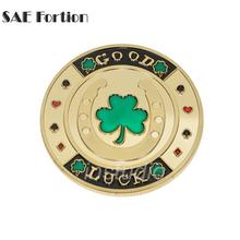 SAE Fortion Gold Plated Casino Challenge Coin Green Clover Good Luck Plum Blossom Antique Token Coin JNB3372(China)