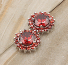 Around one laps Circle Shape Red Claret Garnet 925 Sterling silver Studs Earrings For Woman's Fashion Jewelry S5195(China)