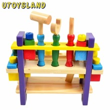 UTOYSLAND Intellectual Wooden Install and Nut Sets Multifunctional Toy Work Bench and Play Tool for Kids
