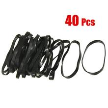 MYTL 40 Pieces Practical Black Elastic Rubber Band Hair Tie Ponytail Holders