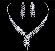 Free Shipping 1pcs/lot Crystal Wedding Bridal Jewelry Sets Fashion Design Earrings Necklace Set Jewelery Sets