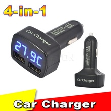 Universal 4 in 1 Car Dual USB 2 Port Charger DC 5V 3.1A Digital LED Display Temperature/Current/Voltage for iPhone for Samsung