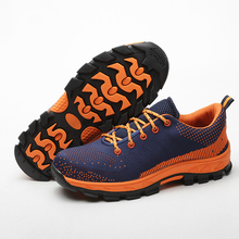 big size 45 46 breathable mesh steel toe cap work safety summer shoes womens plate platform site factory tooling ankle boots