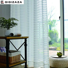 Sunny Solid Stripe Voile Window Sheer Curtains for Livingroom Bedroom GIGIZAZA Tulle Drape Stripe Process White Color(China)