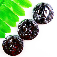 2017 Hot sale Animal stone Beautiful 6pcs Carved Lion head Hematite Pendant bead 25x25x5mm