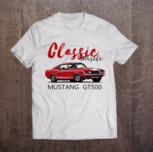 2017 New Fashion Clothing Men T Shirt Funny Cotton Short Sleeve Mustang Classic Muscle Gt500 High Quality Tees