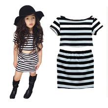 Summer Girls Striped Dress Children Teenagers Dresses for Girls Fashion Cotton Princess Clothing Short Sleeve Kids 3-7Y DS5