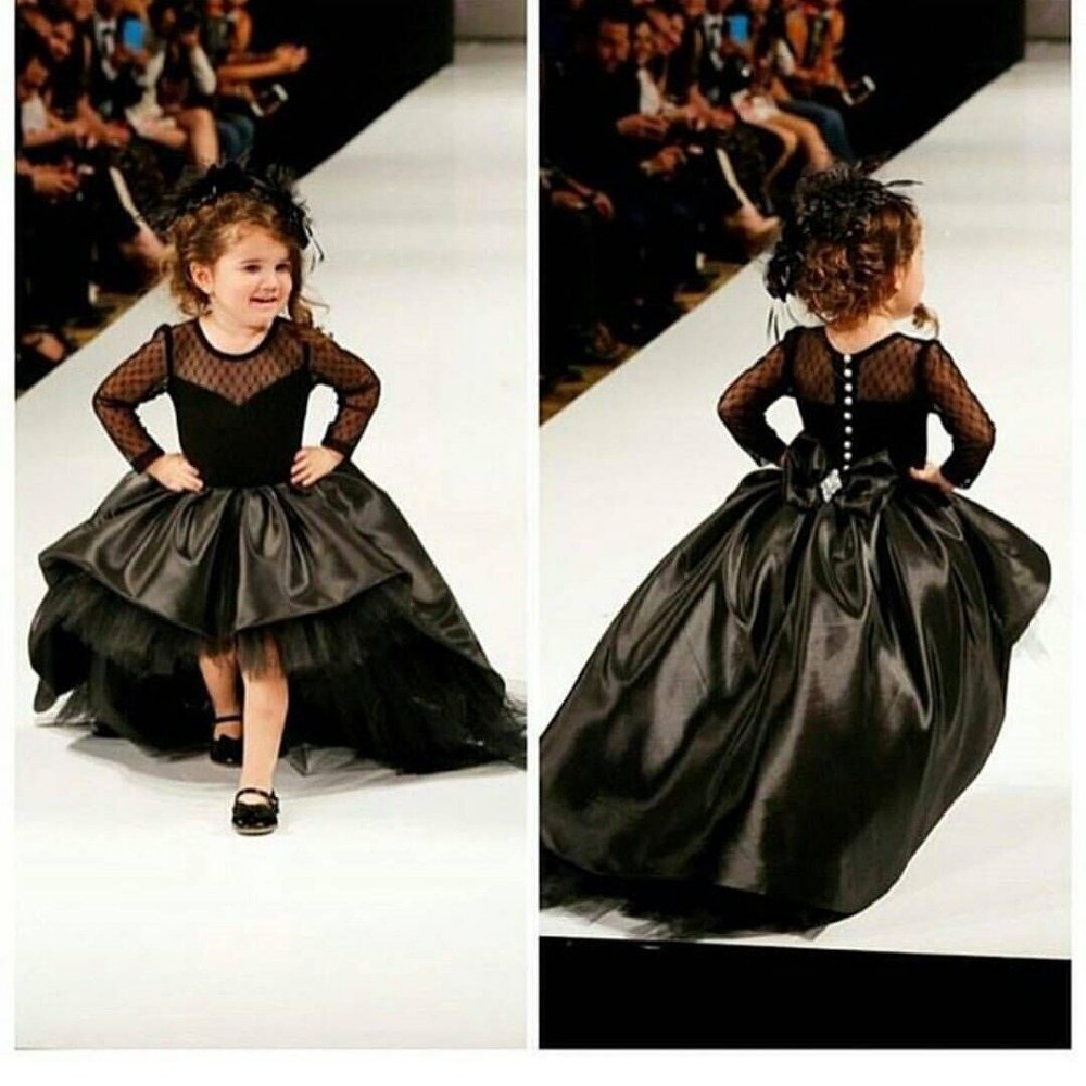 Black Long Sleeve Wedding Party Flower Girl Dress Trailing Pageant Dresses for Girls