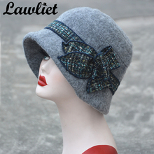 Lawliet Flower Floppy Women Winter Hat Wool Fedoras Downton Abbey Bucket Hats Gray Black Gatsby Vintage Style Cloche Church Hats(China)