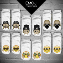 Fashion Women's Funny Emoji Monkey 3D Print Sock Men Unisex Low Cut Ankle Socks Cotton Hosiery White Printed Casual Sock