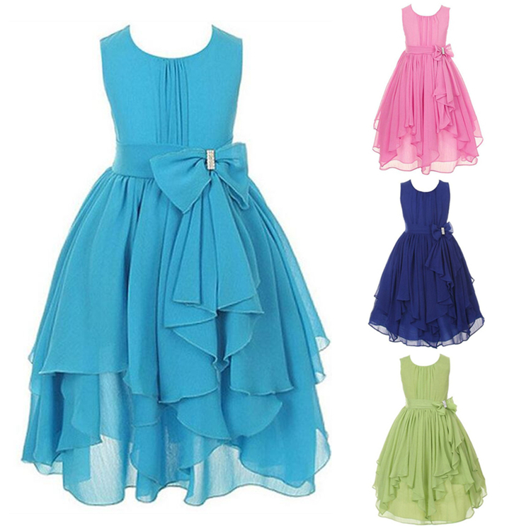 New Girls Dresses for Wedding Irregular Ruffled Summer Sleeveless Party Princess Dress Chiffon Children Clothes Kids clothing<br><br>Aliexpress