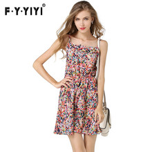 vestido de festa Flowers Floral Elastic Women 's New Vest Colored Dot Printed Chiffon Dress Tropical Region Summer Beach(China)