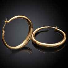 2017 new fashion Jewelry casual round hoop earrings   gold color   rose golden  Zircon earing brincosSKGE031