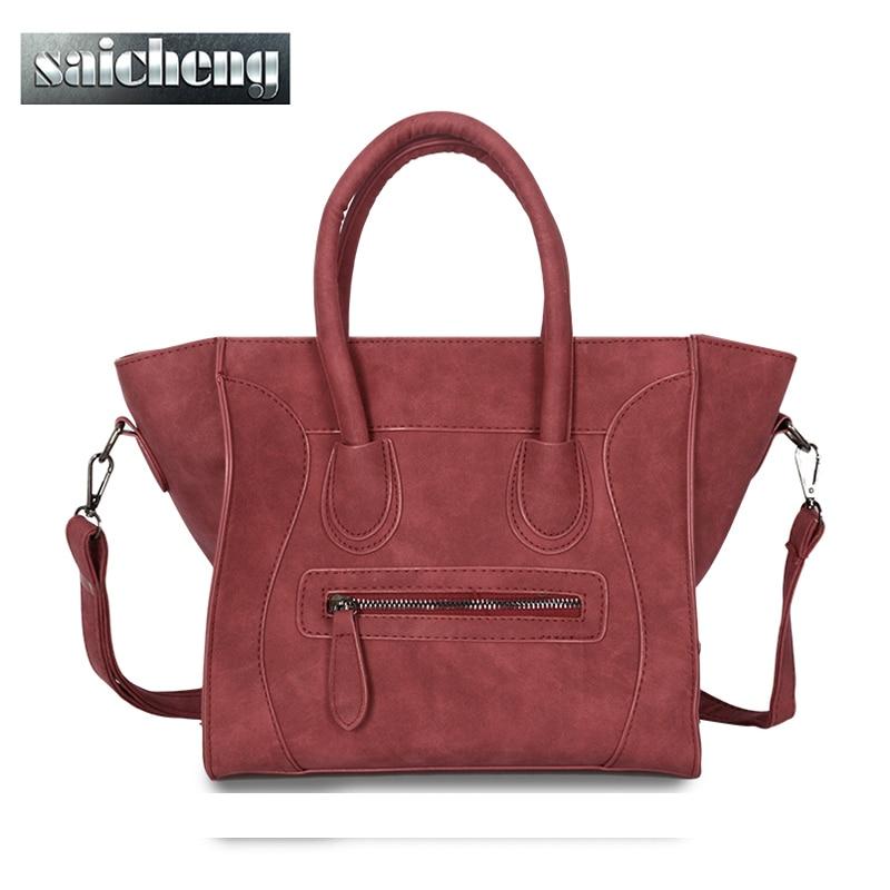 2017 Fashion Smile Bag Women High Quality Scrub Pu Leather Handbags Crossbody Bags For Women Designer Trapeze Messenger Bag<br><br>Aliexpress
