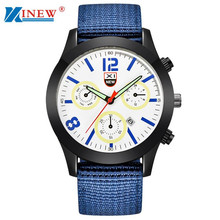 XINEW Canvas Quartz Watch Men Military Army Clock Men's Luxury Stainless Steel Dial Wrist Watches Relogio Masculino #LH(China)