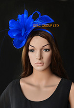 Royal blue Ladies Hat Sinamay fascinator Feather fascinator  for kentucky derby and wedding.