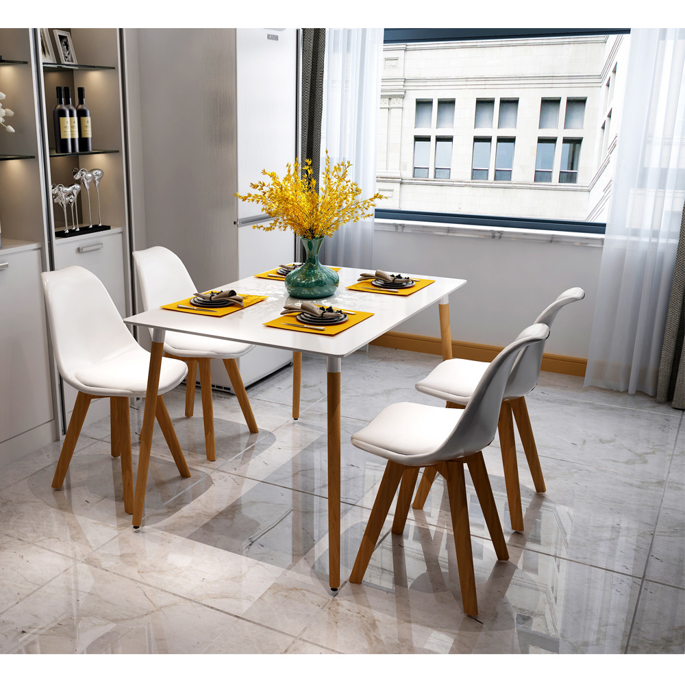4 Pcs Armless Soft Padded Seat Dining Chair Modern and Body Engineering Design Chairs with Wooden Leg White Stock in US<br>