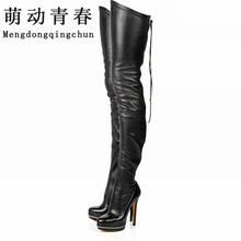 2017 Women Boots Stretch PU Leather Over The Knee High Sexy Ladies Party High Heels Platform Shoes Woman Black Plus Size 43(China)