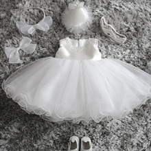 Newborn Infant Princess Kids Party Costume Outfit Tulle Christening Gown Baby Girl Wedding Dress 1 Year Birthday Baby Dress Girl(China)