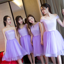 strapless short knee length bridesmaid engagement dinner elegant 16 birthday dress lilac ball gown for a wedding guest B3973