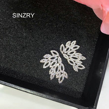 SINZRY Hotsale brilliant cut cubic zircon holllow feather stud earrings fashion women classic design jewellery