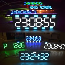 DIY 6 Digit LED Large Screen Two-Color Digital Tube Desktop Clock Kit Touch Control 6 Colors(China)