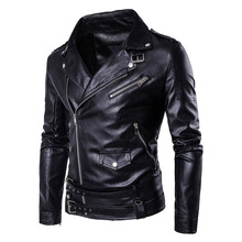 Buy New Retro Faux Leather Motorcycle Jacket Men Turn Collar Moto Jacket Adjustable Waist Belt Windproof Jacket Coats M-5XL for $53.72 in AliExpress store