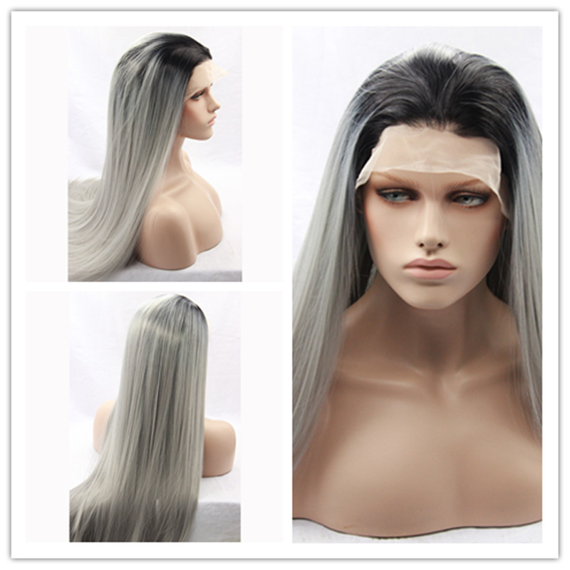 2017 Hot Sale Heat Resistant Wigs Ombre Silk Straight Black to Dark Grey Synthetic Lace Front Wigs For Women<br><br>Aliexpress