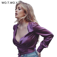 Spring Loose Sashes Silk Blouse Women Sexy Deep V-neck Satin Shirt Lantern Women Long Sleeve blouse Shirt Kimono T651