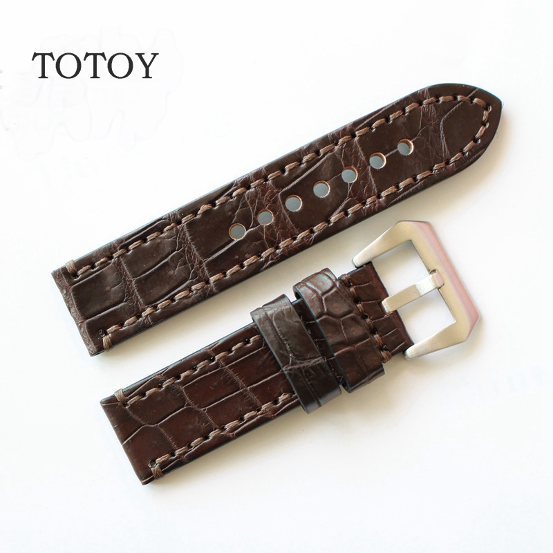 TOTOY Retro Brown Crocodile Leather Watchbands, 20MM  Mens Bamboo Pattern Strap For PAM Leather Watchbands<br>