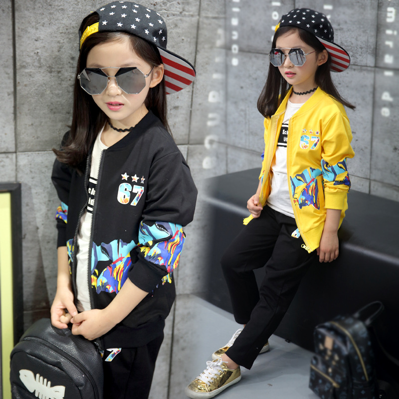2017 Korean style autumn girls leisure sports two piece suit round collar cardigan zipper printing baby girls clothing set kids<br><br>Aliexpress