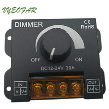 New LED Dimmer 12V 24V 30A Max Easy Dimmer For Led Lamps Switch metal Shell Knob control Electric Shock cover Strip regulator