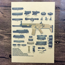 "Retro kraft paper poster "" about heavy machine gun"" Family Decorates A Poster Paper Graft Vintage Poster Wall Sticker"