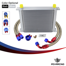 PQY- AN10 OIL COOLER KIT 30 ROWS OIL COOLER + OIL FILTER ADAPTER + NYLON STAINLESS STEEL BRAIDED HOSE WITH PQY STICKER+BOX(China)