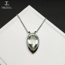TBJ ,V shape pendant in 925 sterling silver with nautral green amethyst cut pe10*15 with gift box,elegant design pendants(China)