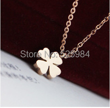 Women Four Leaf Clover Brand 361 Titanium Steel Gold Pendant Necklace Luxury Gift(China)