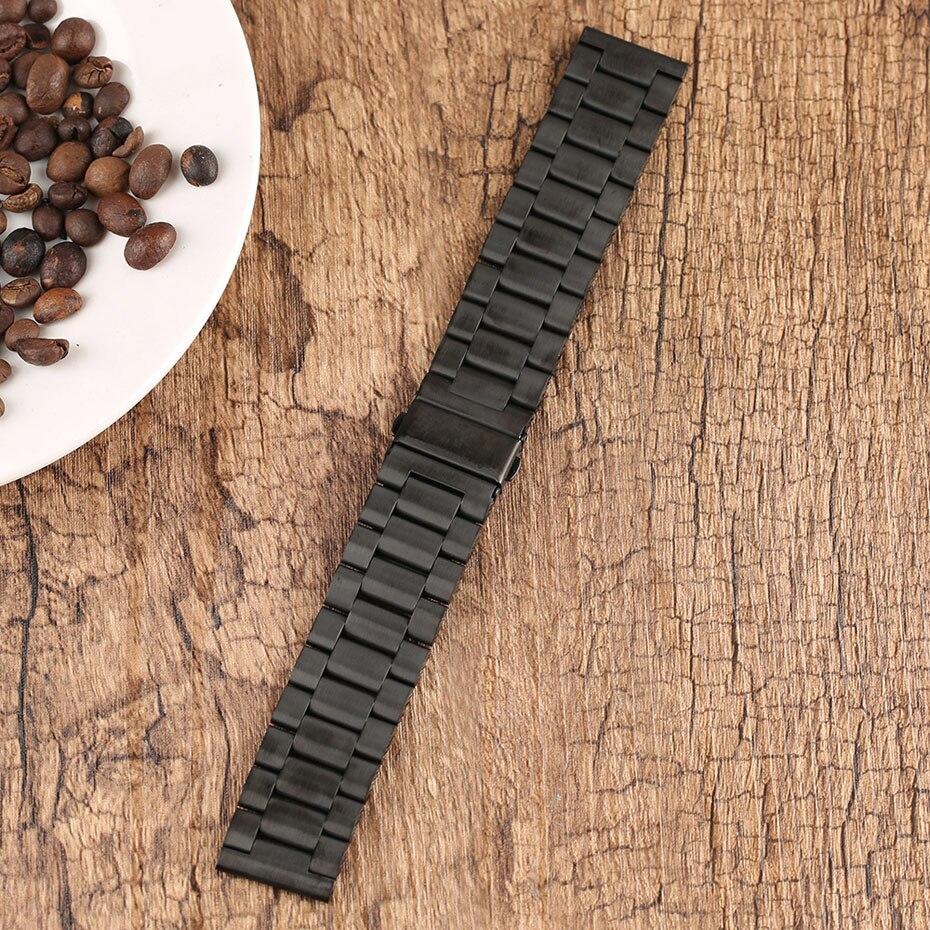 2022 mm Universal Milanese Watchband Quick Release Watch Band Mesh Stainless Steel Strap Wrist Belt Black Bracelet (11)