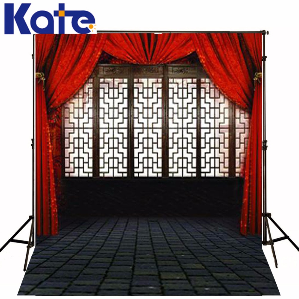 300CM*200CM Kate Retro Stage Backgrounds Red Curtain Hanging In Room Photography Backdrops Photography Backdrop LK-3370 <br>