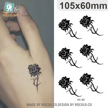 Rose Floral Design Temporary Tattoo Stickers Women Sexy Finger Small Fake Tattoo Small Birthmarks Scar Cover Flash Tattoo Taty