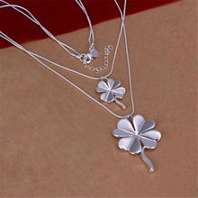 New Listing Hot selling elegant  silver plated  lucky double Clover Necklace Fashion trends Jewelry Gifts